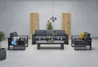 Garden Impressions Cube stoel-bank loungeset 4-delig - Carbon