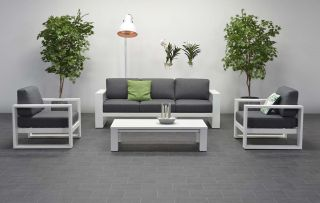Garden Impressions Cube stoel-bank loungeset 4-delig - Wit