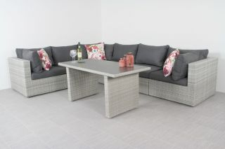 Suns Parma lounge dining set - White grey