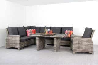Aruba lounge dining set - inclusief verstelbare loungestoel - Light grey