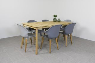Paris tuinstoel Dark & Light grey + Lugo tuintafel 170 cm.