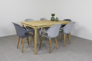 Paris tuinstoel Light & Dark grey + Lugo tuintafel 170 cm.