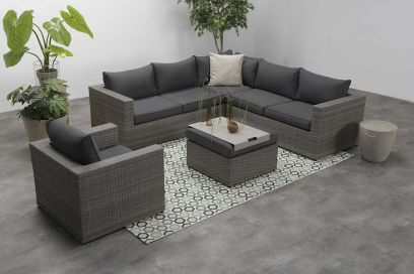Hilton loungeset 5-delig – Organic grey