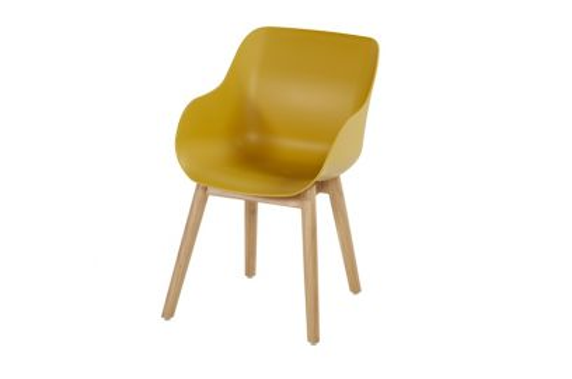 Hartman Sophie Studio Organic stoel - Curry Yellow - Teak poot
