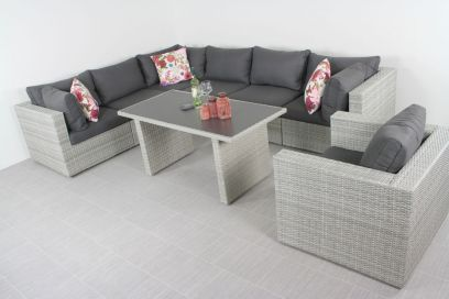 Suns Parma lounge dining set - inclusief loungestoel - White grey