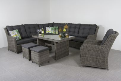lounge dining set Richmond + loungestoel - Ash grey