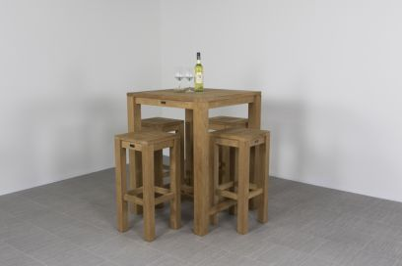 Allure teak houten barset - 80x80 cm. - 5 delig