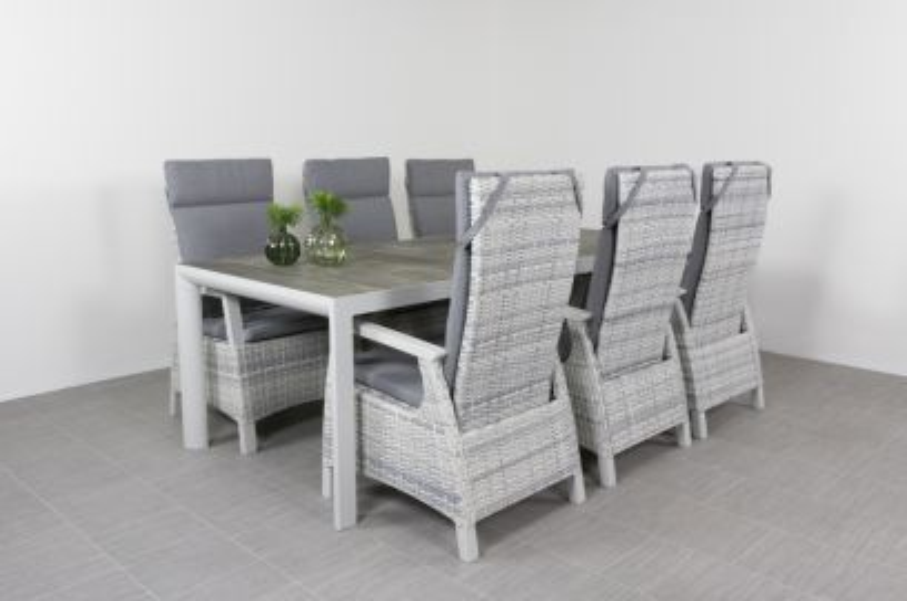 Darwin verstelbare stoelen + Kingstafel 220 x 100 cm.