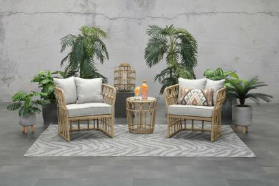 Colonial loungeset - Natural rotan - 3-delig