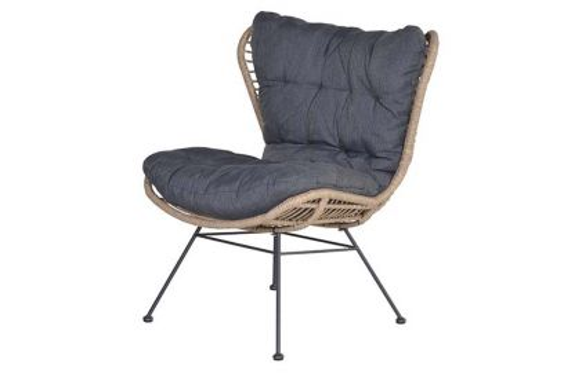 Libelle retro loungestoel - Natural rotan
