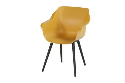 Hartman Sophie Studio dining armstoel - Curry Yellow - Carbon Black poot