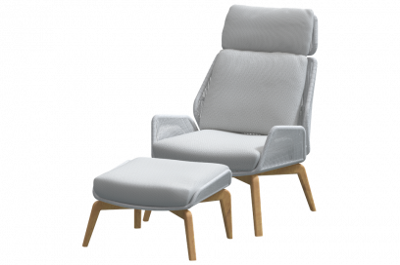 4 Seasons Carthago teak loungestoel incl. voetenbank - Grijs