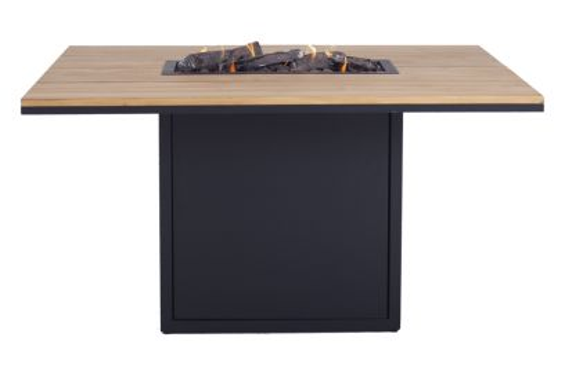 Cosiloft relax vuurtafel 120 x 80 cm. - black - teak