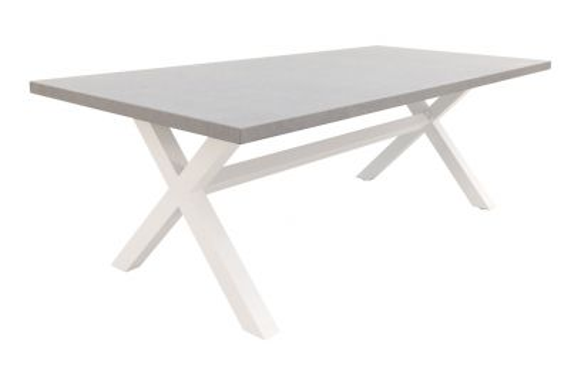 Verona betonlook tuintafel 220 x 100 cm. - White