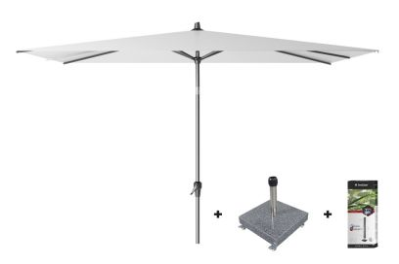 Platinum Riva stokparasol 3x2 - White met voet en hoes