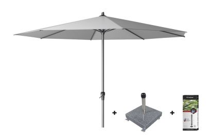 Platinum Riva stokparasol 3.5 m. rond - Light Grey met voet en hoes