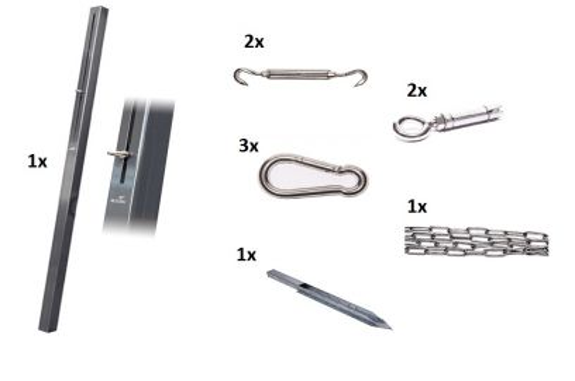 Nesling bevestigingsmaterialen schaduwdoek combinatiepakket 1