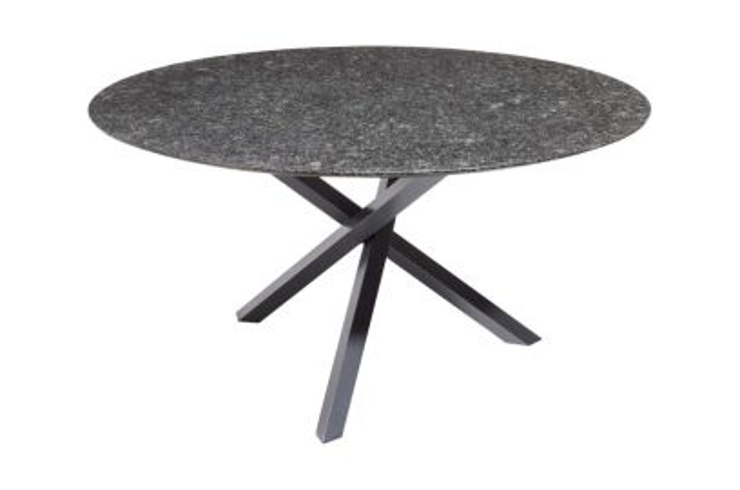 Granieten tuintafel Gigi rond 120 cm. - Pearl black
