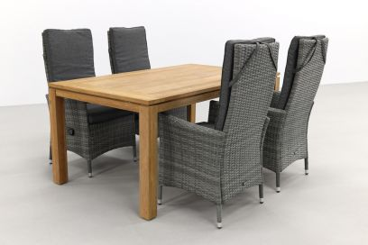 Timber organic grey/Rome brown 170 cm. tuinset - 5-delig
