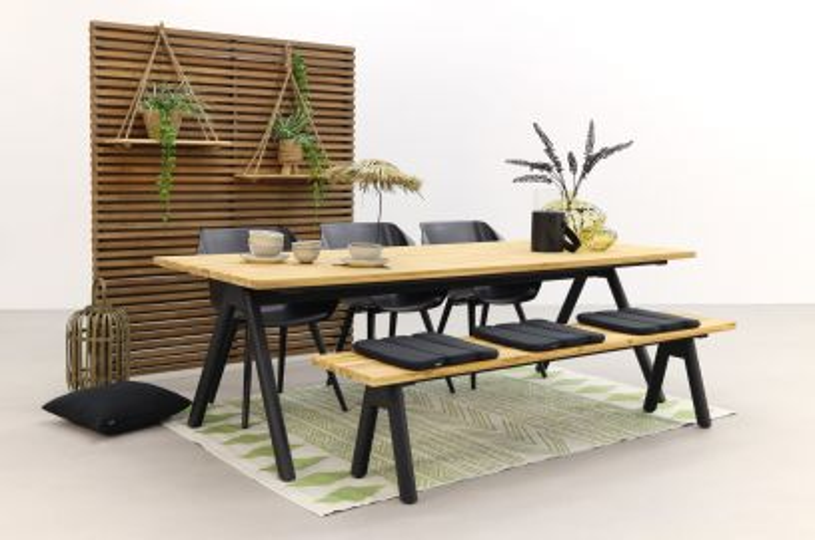 Hartman tuinset Sophie Studio Black/Mason teak tafel 240 cm. + bank - 5-delig