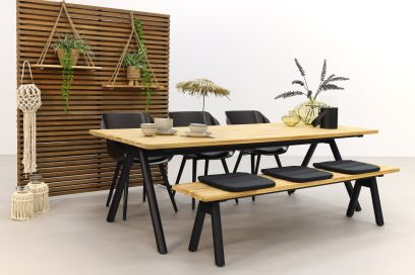 Hartman tuinset Sophie Studio Mahogany/Mason teak tafel 240 cm. + bank - 5-delig
