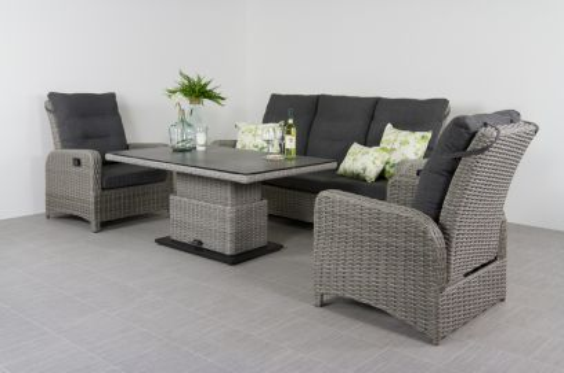 Verstelbare loungeset Hollywood - white grey