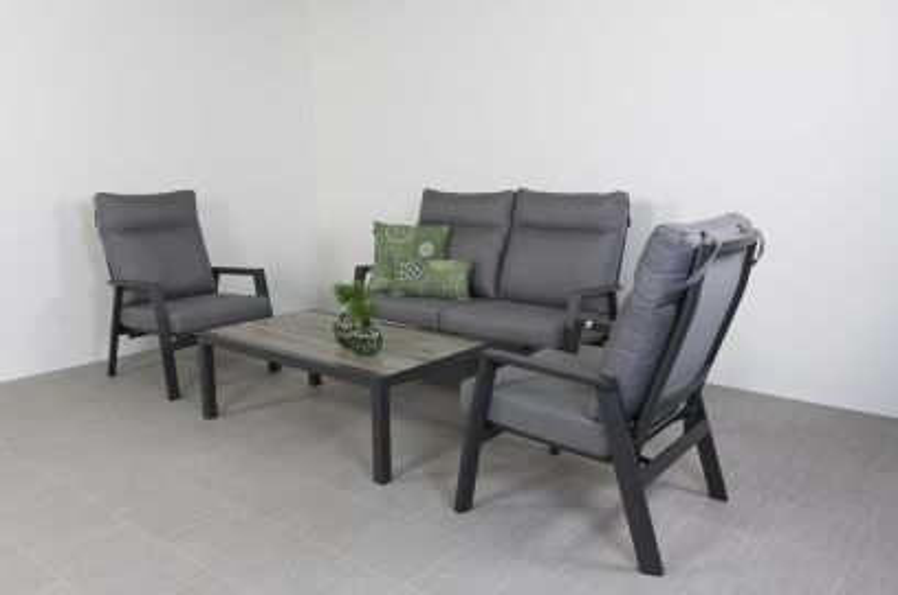 Azoren stoel-bank loungeset 4-delig verstelbaar - Antraciet